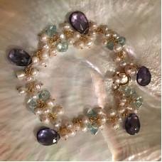 Amethyst Bracelet, Aquamarine and Pearl