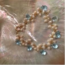 Pearl and Aquamarine Bracelet